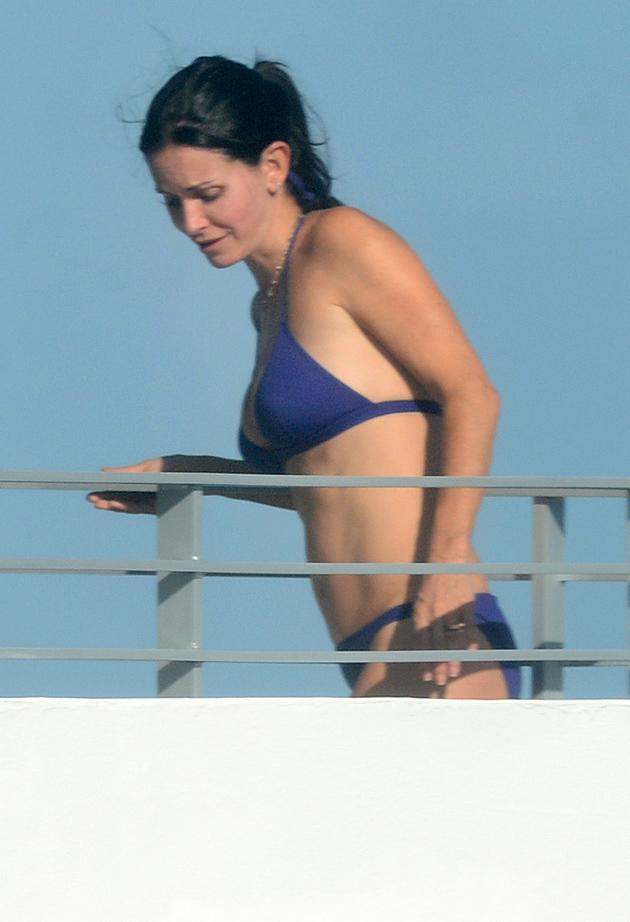 "Courteney Cox enjoys exercising – and you can tell! Like many other Tinseltown hard bodies, the 48-year-old ""Cougar Town"" is a student of the Tracy Anderson Method. So know that she is logging many hours each week to get her body – which she proudly showed off in a blue bikini while vacationing in Miami Beach over Thanksgiving. ""My fitness philosophy is to be active in life and enjoy what I am doing,"" Cox, who has an 8-year-old daughter, told goop.com. ""I have always loved exercise and feel that being active is important to maintain not only physical health but mental health as well."" (11/18/2012)"