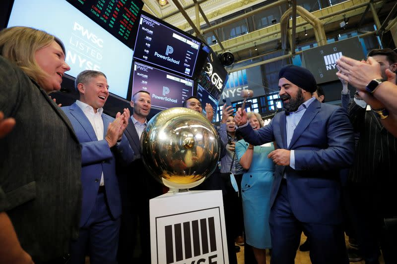 PowerSchool CEO Hardeep Gulati rings a ceremonial bell during their Initial public offering (IPO) the New York Stock Exchange (NYSE) in New York City, New York