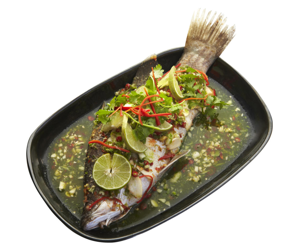<p>Pla Kra Pung Nung Manao</p><p>(Steamed whole sea bass with spicy chili and lime sauce)</p><p>492.8 calories</p>