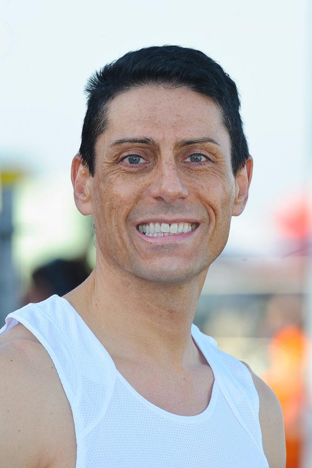 CJ pictured in 2014, when he ran the London Marathon