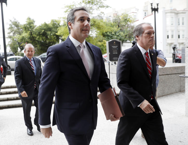 Michael Cohen, President Donald Trump's personal attorney, arrives on Capitol Hill in Washington, Tuesday, Sept. 19, 2017. Cohen is schedule to testify before the Senate Intelligence Committee in a closed session. (AP Photo/Pablo Martinez Monsivais)