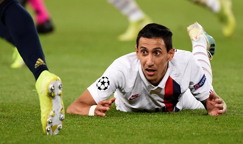 Paris Saint-Germain's Argentine midfielder Angel Di Maria reacts during the UEFA Champions league Group A football match between Paris Saint-Germain and Real Madrid, at the Parc des Princes stadium, in Paris, on September 18, 2019. (Photo by Lucas BARIOULET / AFP) (Photo credit should read LUCAS BARIOULET/AFP/Getty Images)