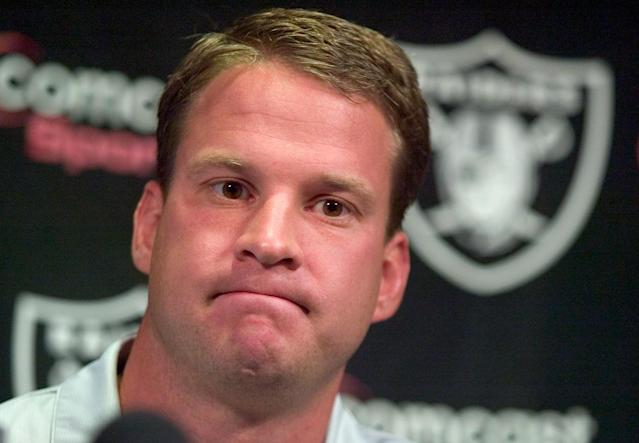 Lane Kiffin was just 33 years old when he was fired as head coach of the Oakland Raiders. Five years later, he'd be relieved of his USC head coaching duties in the middle of the night at LAX. (MediaNews Group/Bay Area News via Getty Images)