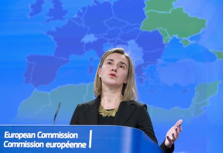 European Union Foreign Policy Chief, Mogherini, speaks at a news conference on the European Neighbourhood Policy in Brussels
