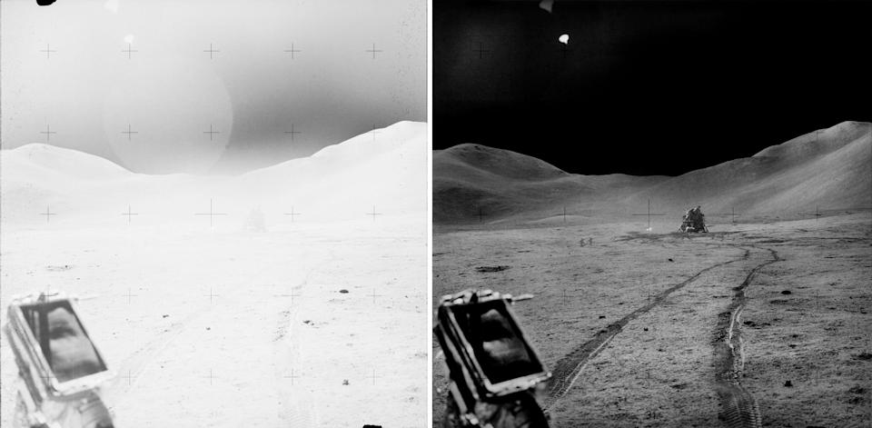 Before and after images of the LRV's tracks on the lunar surface.