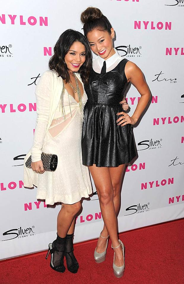 "Fellow ""Punch"" stars Vanessa Hudgens and Jamie Chung cuddled up for the cameras. Do you think VHudge's stockings and sandals look is hot ... or not? Jordan Strauss/<a href=""http://www.wireimage.com"" target=""new"">WireImage.com</a> - March 24, 2011"