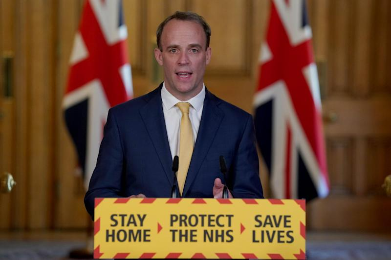 Foreign Secretary Dominic Raab during a media briefing in Downing Street, London, on coronavirus: PA