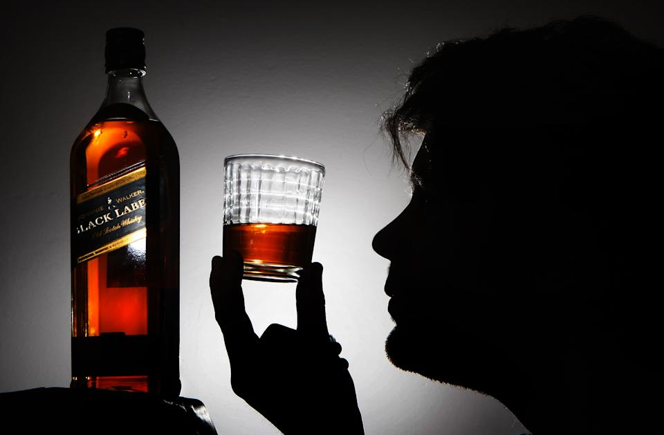Stock photograph showing  Johnnie Walker Black Label whisky made by FTSE 100 company Diageo.   (Photo by Danny Lawson/PA Images via Getty Images)