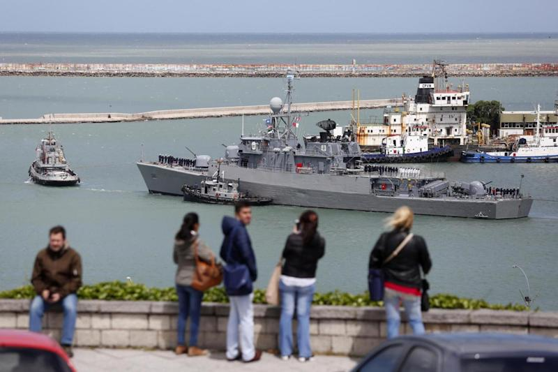 Search party: Ships set out to hunt for the submarine from the naval base at Mar del Plata, Argentina (AP)