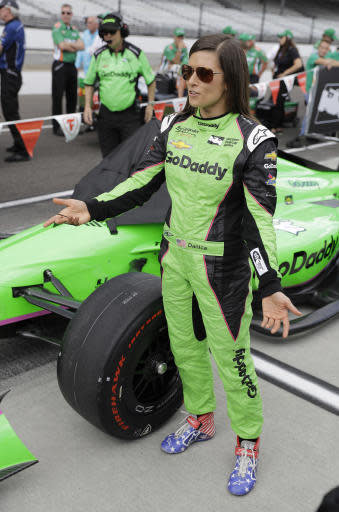 Danica Patrick talks with the Sebastien Bourdais' crew during qualifications for the IndyCar Indianapolis 500 auto race at Indianapolis Motor Speedway in Indianapolis, Saturday, May 19, 2018. (AP Photo/Darron Cummings)