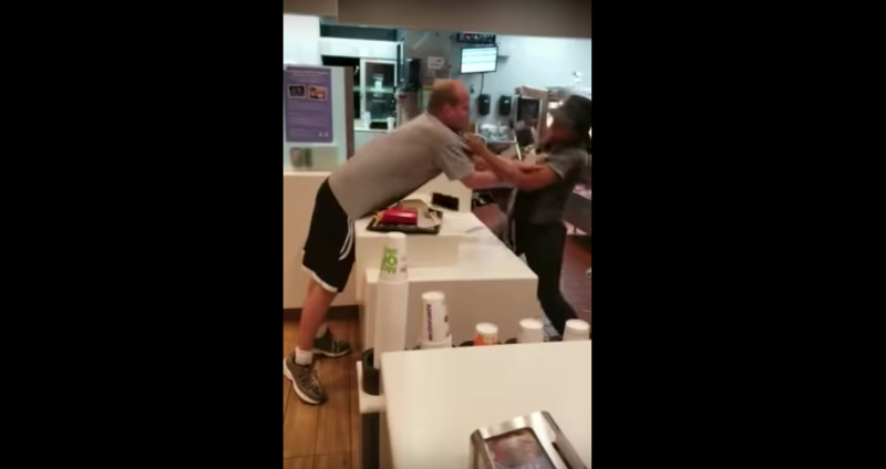 Violent man attacks woman at McDonald's