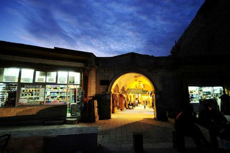 FILE PHOTO: A general view shows the entrance to al-Zarab souk in the Old city of Aleppo, Syria November 24, 2008. REUTERS/Omar Sanadiki/File Photo