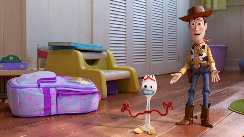 In 'Toy Story 4,' Woody (Tom Hanks) has got a friend—or something—in Forky (Tony Hale). | Disney/Pixar