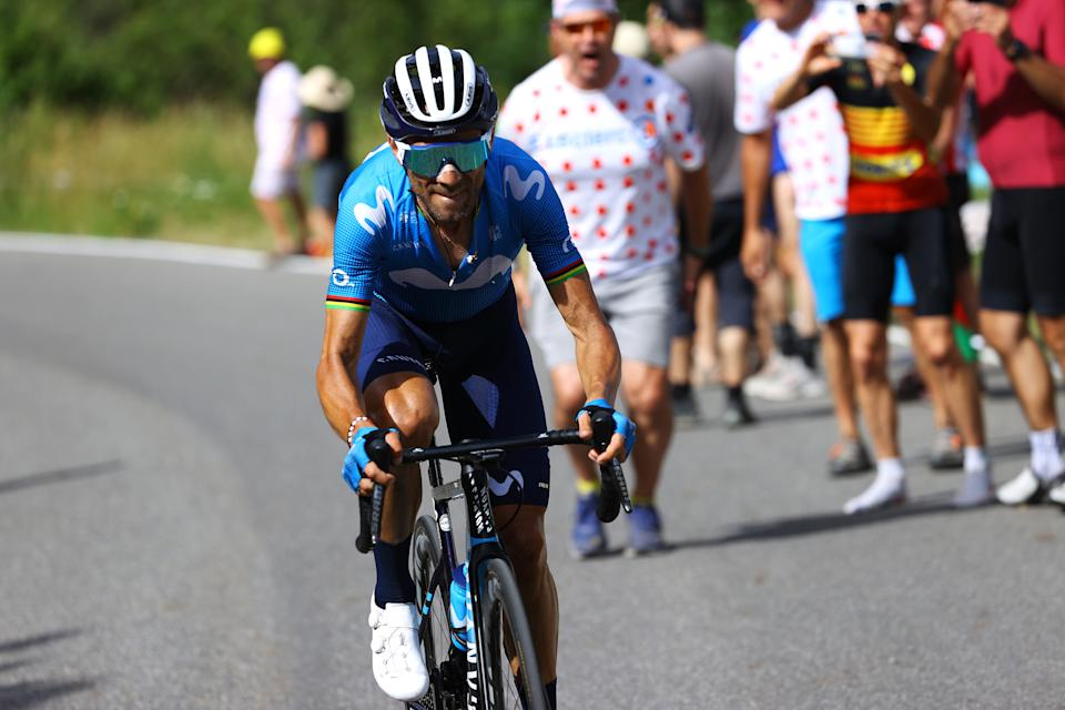 ANDORRE-LA-VIEILLE, ANDORRA - JULY 11: Alejandro Valverde of Spain and Movistar Team in breakaway during the 108th Tour de France 2021, Stage 15 a 191,3km stage from Céret to Andorre-la-Vieille / Col de Beixalis (1796m) / @LeTour / #TDF2021 / on July 11, 2021 in Andorre-la-Vieille, Andorra. (Photo by Tim de Waele/Getty Images)