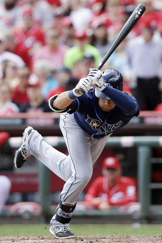 Tampa Bay Rays' Kevin Kiermaier avoids an inside pitch from Cincinnati Reds starting pitcher Alfredo Simon in the fourth inning of a baseball game, Saturday, April 12, 2014, in Cincinnati. (AP Photo/Al Behrman)