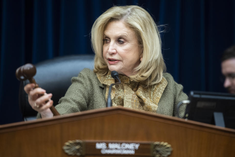 UNITED STATES - MARCH 12: Chairwoman Carolyn Maloney, D-N.Y., conducts the House Oversight and Reform Committee hearing on Coronavirus Preparedness and Response, in Rayburn Building on Thursday, March 12, 2020. (Photo By Tom Williams/CQ-Roll Call, Inc via Getty Images)