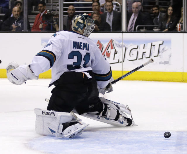 San Jose Sharks goalie Antti Niemi watches Los Angeles Kings center Tyler Toffoli's goal during the second period in Game 4 of an NHL hockey first-round playoff series in Los Angeles, Thursday, April 24, 2014. (AP Photo/Chris Carlson)