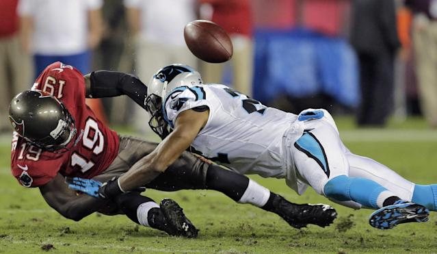 Tampa Bay Buccaneers wide receiver Mike Williams (19) loses the ball as he is hit by Carolina Panthers free safety Mike Mitchell, right, during the third quarter of an NFL football game on Thursday, Oct. 24, 2013, in Tampa, Fla. (AP Photo/Chris O'Meara)