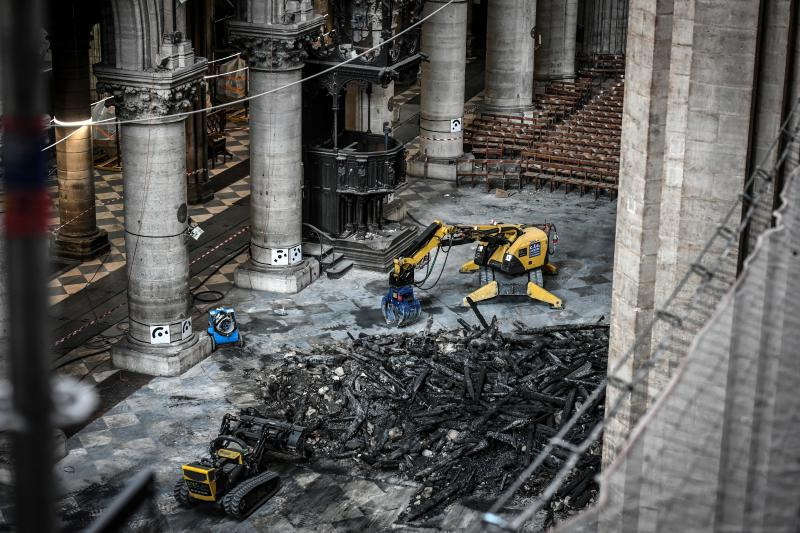Excavator are pictured during preliminary work at the Notre-Dame de Paris Cathedral, July 17, 2019 in Paris. (Photo: Stephane de Sakutin/Pool via AP)