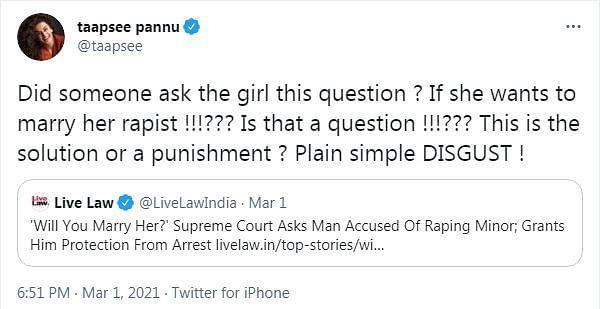 Taapsee reacts strongly to CJI asking rape accused if he's willing to marry victim