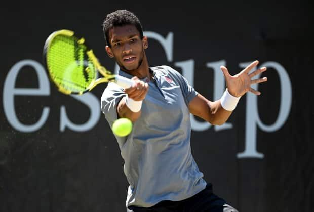 Canada's Felix Auger-Aliassime lost 7-6 (2), 6-3 to Marin Cilic of Croatia in the final of the Stuttgart Open on Sunday. The native of Montreal was going for his first ATP title in eight attempts.  (Marijan Murat/Associated Press  - image credit)