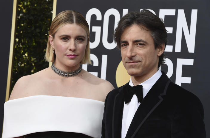 """FILE - This Jan. 5, 2020 file photo shows director Greta Gerwig, left, and Noah Baumbach at the 77th annual Golden Globe Awards in Beverly Hills, Calif. Both Gerwig and Baumback failed to receive Oscar nominations for best director for their film """"Little Women"""" and """"Marriage Story,"""" respectively, but they did receive nominations for adapted screenplay for Gerwig and original screenplay for Baumbauch. (Photo by Jordan Strauss/Invision/AP)"""