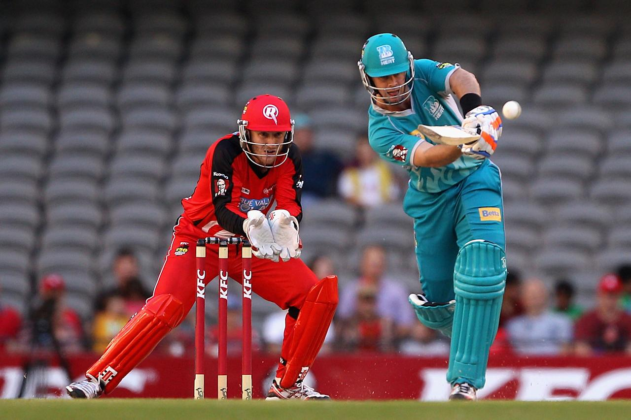 MELBOURNE, AUSTRALIA - DECEMBER 22:  Daniel Christian of the Heat plays a shot during the Big Bash League match between the Melbourne Renegades and the Brisbane Heat at Etihad Stadium on December 22, 2012 in Melbourne, Australia.  (Photo by Robert Prezioso/Getty Images)