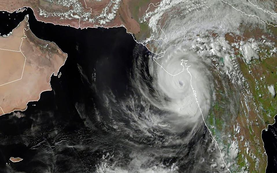 A satellite taken on Monday shows Cyclone Tauktae off the coast of western India - AFP