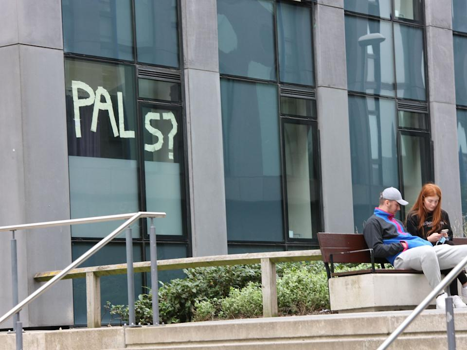 <p>A message from University of Leeds students self-isolating in October</p>Rex