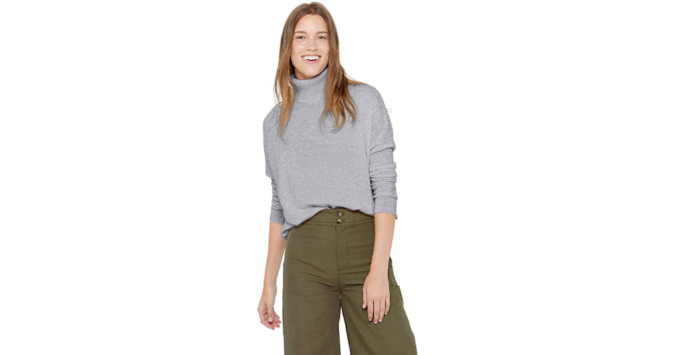 You'll smile too when you're surrounded by this much cashmere. (Credit: Amazon)