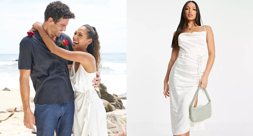 joe amabile and Serena Pitt wearing an $80 4th & Reckless Satin Midi Dress on beach in bachelor in paradise