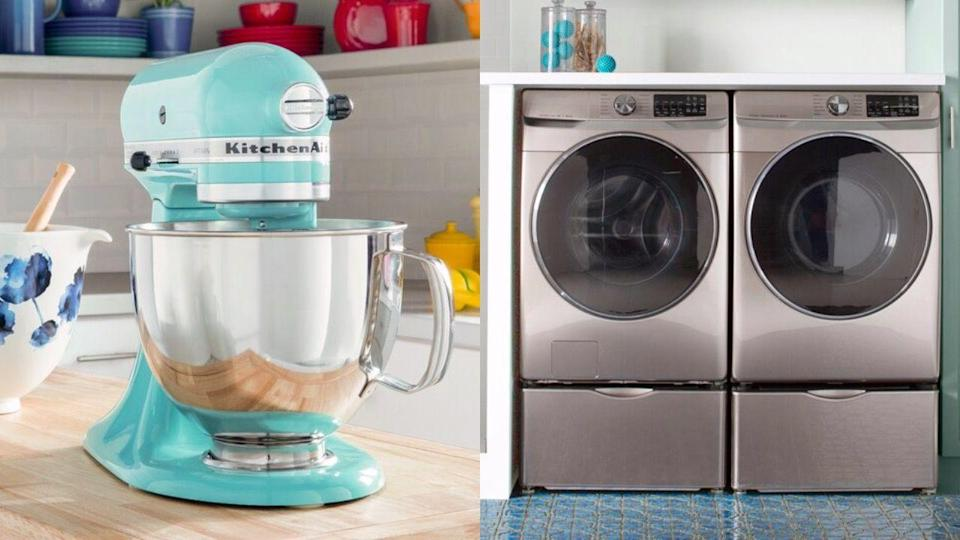 "<p>If you're looking for new <a href=""https://www.housebeautiful.com/shopping/home-gadgets/g22826031/smart-kitchen-appliances/"" rel=""nofollow noopener"" target=""_blank"" data-ylk=""slk:appliances"" class=""link rapid-noclick-resp"">appliances</a>, you're in luck: <a href=""https://www.housebeautiful.com/shopping/best-stores/a22840426/wayfair-black-friday-deals/"" rel=""nofollow noopener"" target=""_blank"" data-ylk=""slk:Wayfair"" class=""link rapid-noclick-resp"">Wayfair</a> is having a <a href=""https://www.wayfair.com/daily-sales/major-appliance-deals"" rel=""nofollow noopener"" target=""_blank"" data-ylk=""slk:huge appliance sale"" class=""link rapid-noclick-resp"">huge appliance sale</a> right now with savings of up to 60 percent. You can score major savings on big ticket items and small appliances, including <a href=""https://www.wayfair.com/appliances/pdp/samsung-45-cu-ft-front-load-washer-and-75-cu-ft-electric-dryer-smsg1181.html?piid=43444496"" rel=""nofollow noopener"" target=""_blank"" data-ylk=""slk:washers and dryers"" class=""link rapid-noclick-resp"">washers and dryers</a>, ovens, dishwashers, heaters, and more. The sale ends on Wednesday, October 21, but make sure to checkout ASAP because popular appliances are already selling out. To help get you started, we rounded up the best deals, from must-have stand mixers to smart refrigerators. </p>"