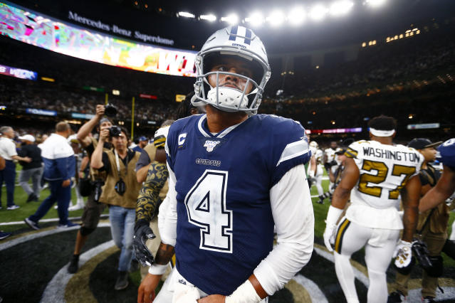 The Cowboys haven't negotiated with Dak Prescott since he reportedly turned down $33 million per year. (AP Photo/Butch Dill)