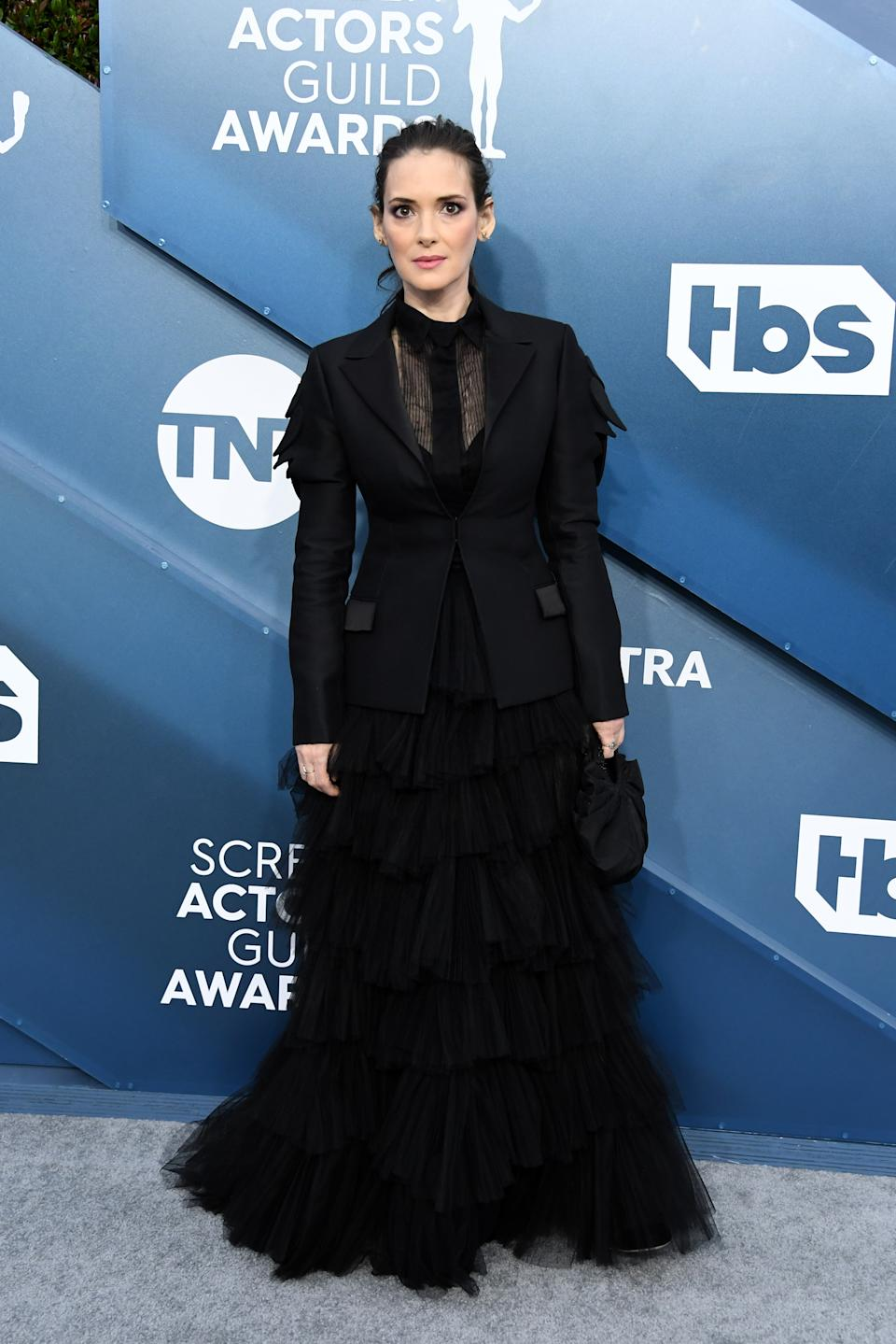 """The """"Stranger Things"""" star's witchy black ensemble was a throwback to her """"Beetlejuice"""" days."""