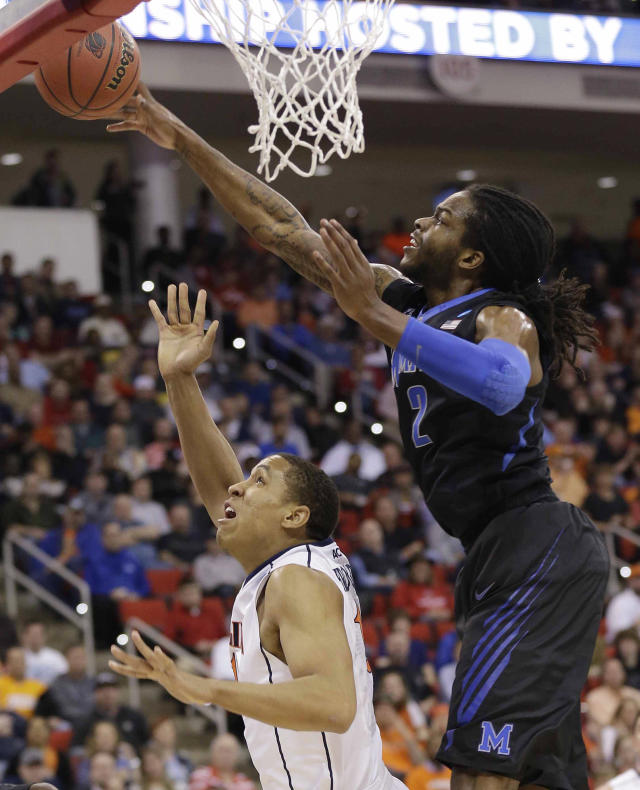 Memphis forward Shaq Goodwin (2) blocks a shot by Virginia guard Malcolm Brogdon (15) during the first half of an NCAA college basketball third-round tournament game, Sunday, March 23, 2014, in Raleigh. (AP Photo/Gerry Broome)