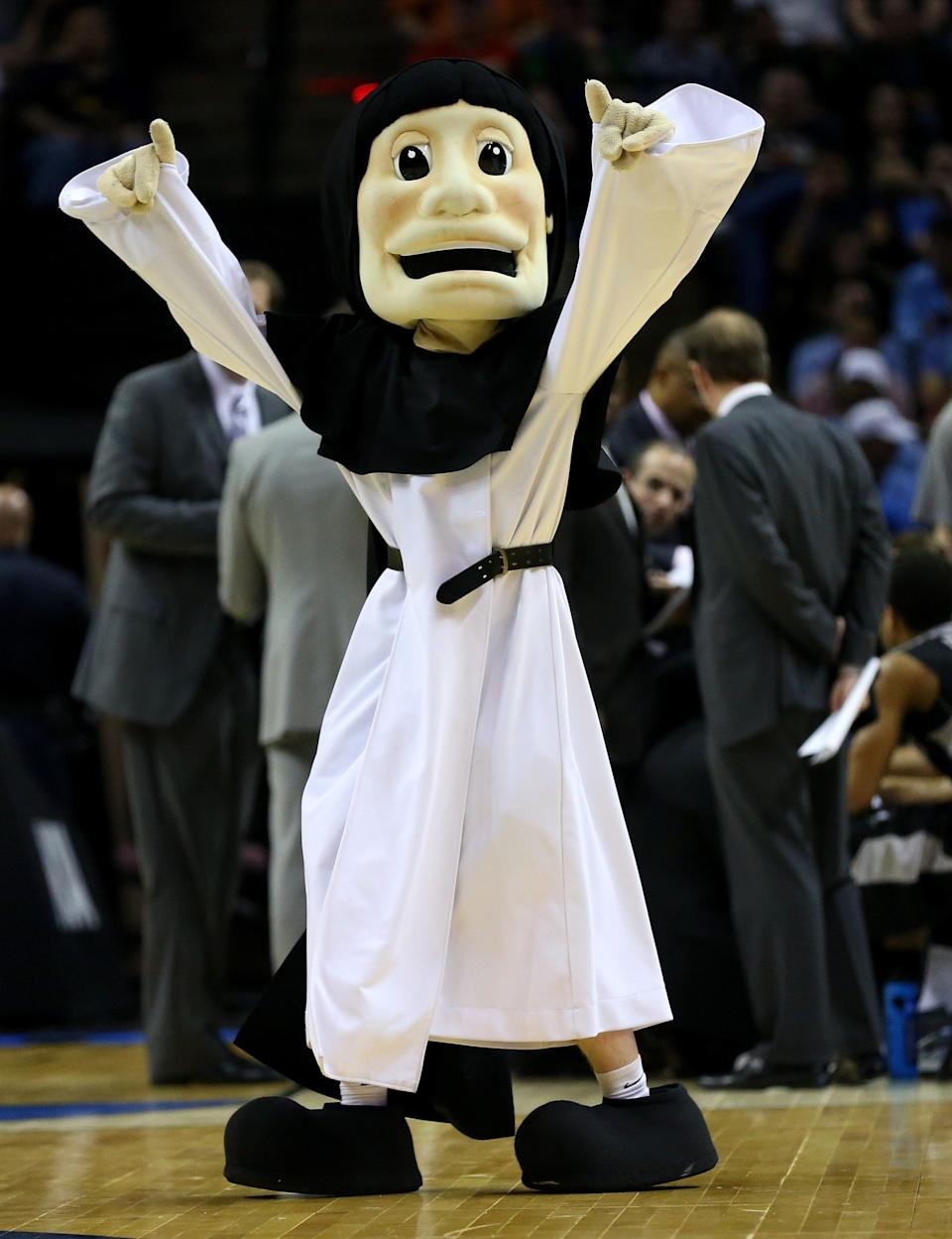 SAN ANTONIO, TX - MARCH 21:  The Providence Friars mascot is shown during a timeout of the Friars game against the North Carolina Tar Heels during the second round of the 2014 NCAA Men's Basketball Tournament at AT&T Center on March 21, 2014 in San Antonio, Texas.  (Photo by Ronald Martinez/Getty Images)