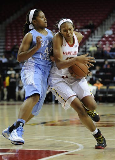 Maryland's Alicia DeVaughn, right, is pushed by North Carolina's Tierra Ruffin-Pratt during the first half of an NCAA college basketball game onThursday, Jan. 24, 2013, in College Park, Md. (AP Photo/Gail Burton)