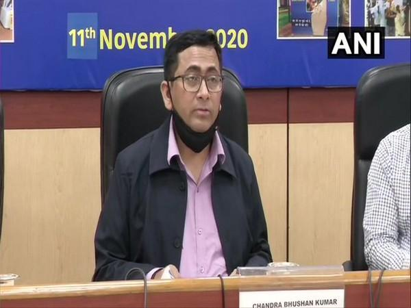 Deputy Election Commissioner Chandrabhushan Kumar addressing a press conference in New Delhi.