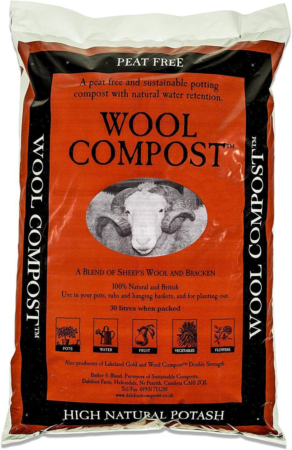 """<p>This compost is a sustainable, peat-free mix made with sheep's wool from the Lake District. This means it is high in nutrients and has great water retention properties. </p><p><strong><a class=""""link rapid-noclick-resp"""" href=""""https://www.amazon.co.uk/Dalefoot-wool-compost-peat-free-sustainable/dp/B012HGYBPO"""" rel=""""nofollow noopener"""" target=""""_blank"""" data-ylk=""""slk:BUY NOW"""">BUY NOW</a> £16.95</strong></p>"""