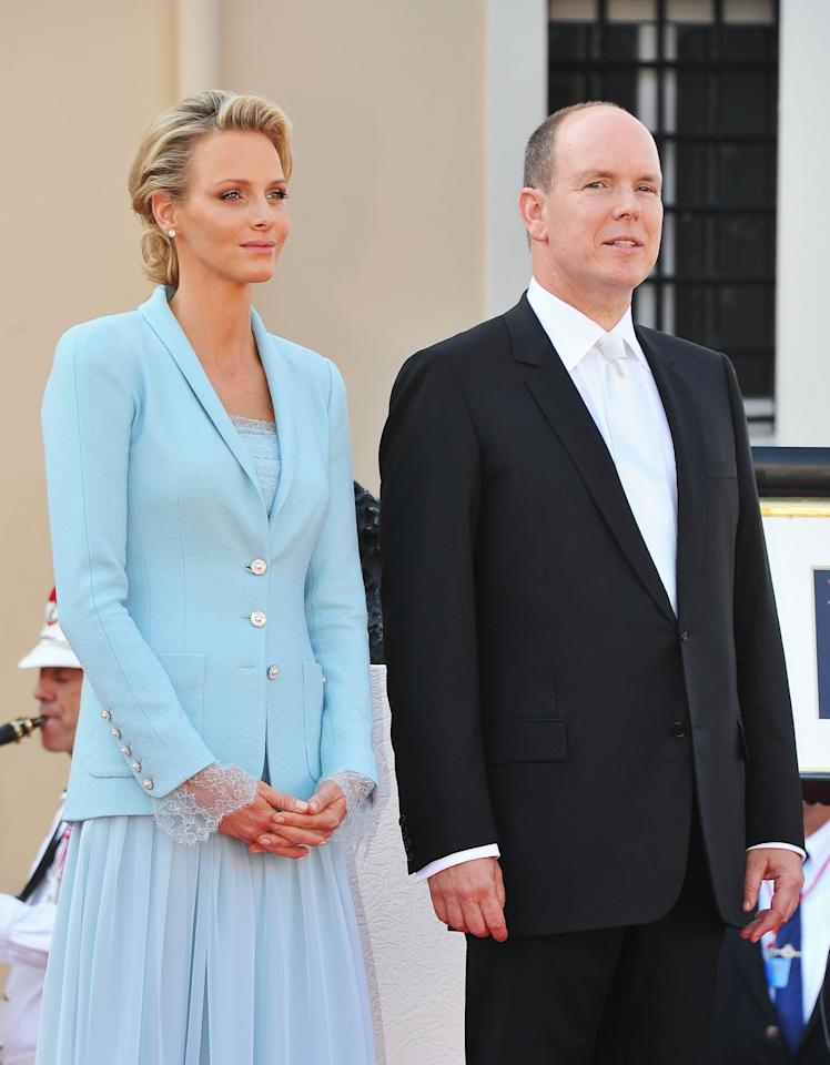 <p>Princess Charlene of Monaco (nee Wittstock) wore a blue bespoke Chanel outfit to marry Prince Albert II of Monaco in a civil ceremony in 2011 [Photo: Getty] </p>