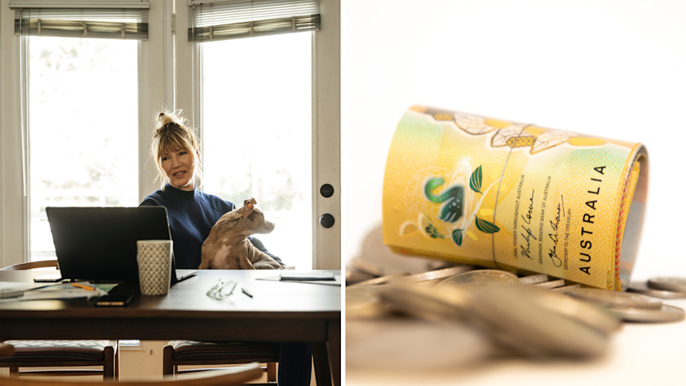 Woman sits in sunny home office with dog on her lap, close image of $50 notes and coins.
