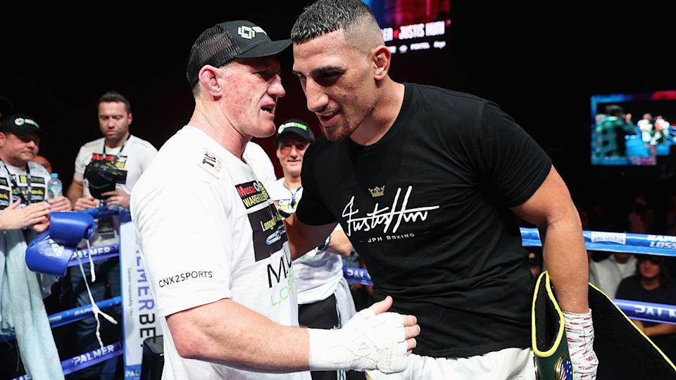 Justis Huni and Paul Gallen, pictured here after their Australian heavyweight title fight.