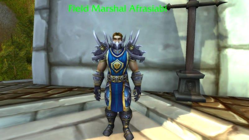 Image of human male in World of Warcraft with the nameplate Field Marshal Afrasiabi.