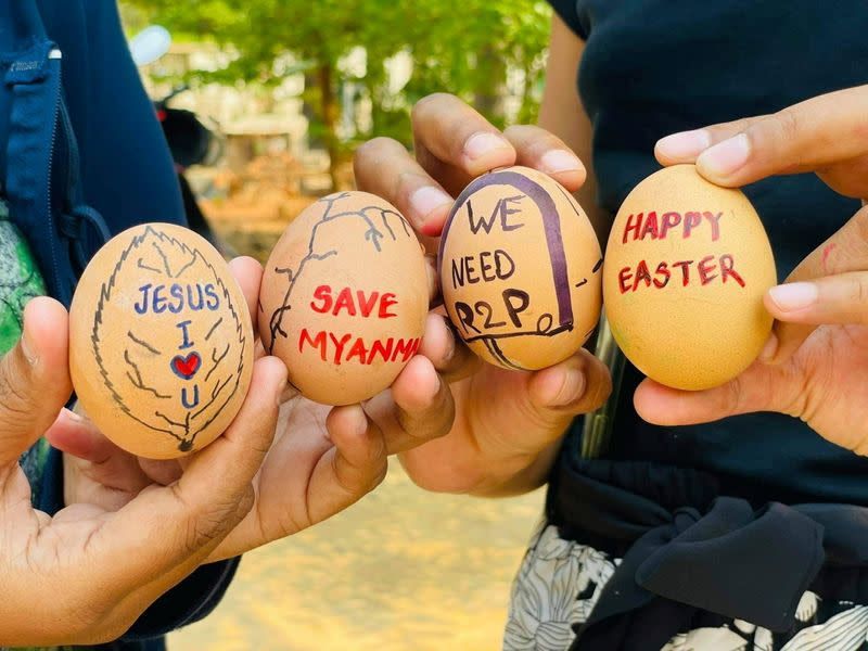 Easter eggs are painted with slogans from the protests against the military coup, in Mandalay