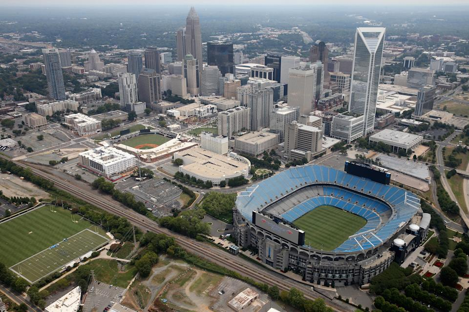 CHARLOTTE, NC - SEPTEMBER 14:  A general view of Bank of America Stadium, home of the NFL's Carolina Panthers, on September 14, 2015 in Charlotte, North Carolina.  (Photo by Streeter Lecka/Getty Images)