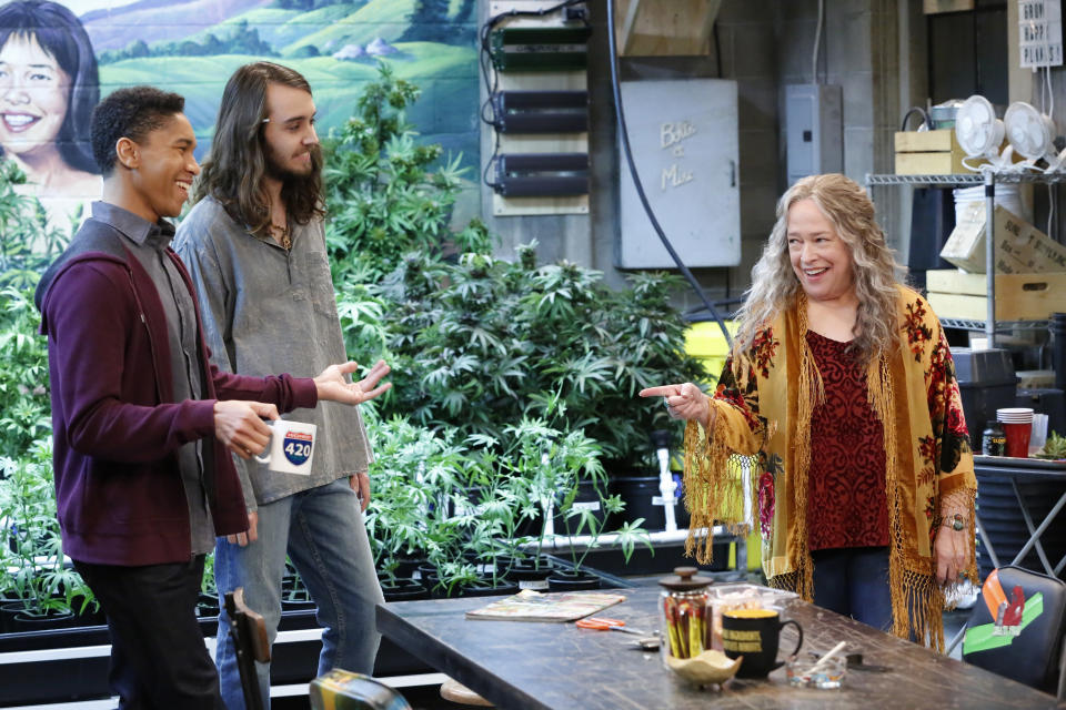 Disjointed actors Aaron Moten, Dougie Baldwin and Kathy Bates. (PHOTO: Robert Voets/Netflix)  Disjointed is a workplace comedy starring Kathy Bates as a lifelong advocate for legalization who's finally living her dream as the owner of an L.A.–area cannabis dispensary. Joining her are three budtenders, her twenty-something son and a deeply troubled security guard. All of them are more or less constantly high.