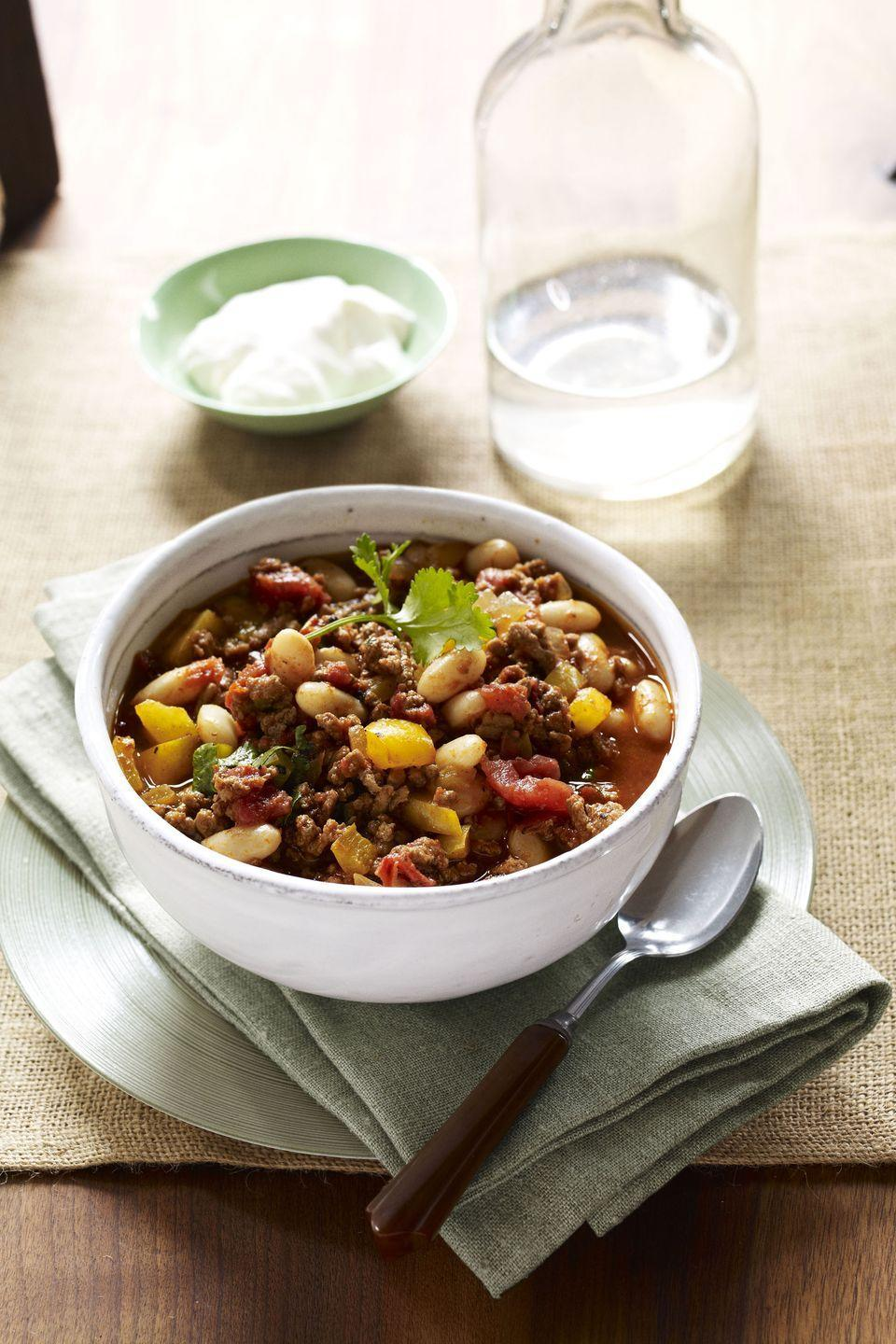 "<p>This recipe calls for ground turkey instead of ground beef, making it a leaner option, but it's still as flavor-packed as your go-to.</p><p><a href=""https://www.goodhousekeeping.com/food-recipes/a13395/turkey-bean-chili-recipe-ghk0112/"" rel=""nofollow noopener"" target=""_blank"" data-ylk=""slk:Get the recipe for Turkey-Bean Chili »"" class=""link rapid-noclick-resp""><em>Get the recipe for Turkey-Bean Chili »</em></a></p>"