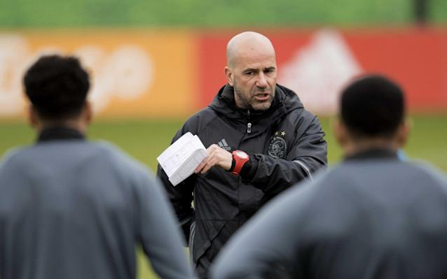<span>Ajax manager Peter Bosz during a training session on Wednesday</span>