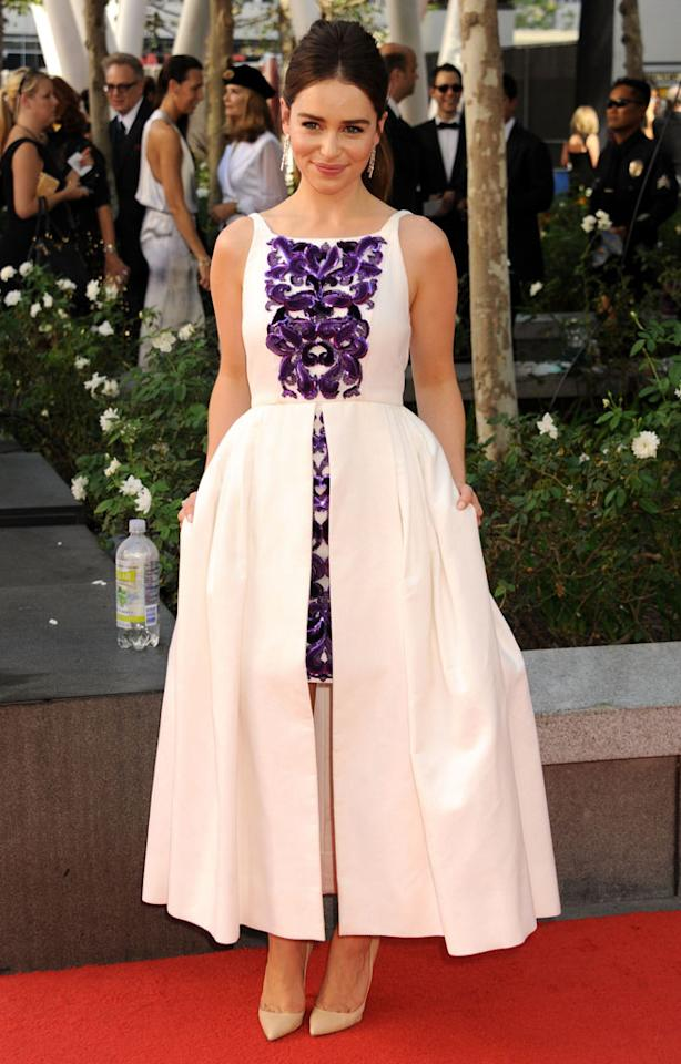 Emilia Clarke arrives at the 64th Primetime Emmy Awards at the Nokia Theatre in Los Angeles on September 23, 2012.