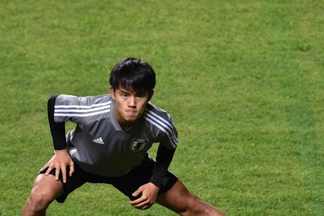 Japan's teenage sensation Takefusa Kubo is pushing for a recall ahead of Monday's decisive Copa America match against Ecuador (AFP Photo/DOUGLAS MAGNO)